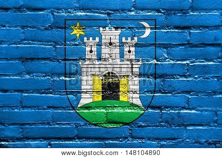 Flag Of Zagreb, Croatia, Painted On Brick Wall