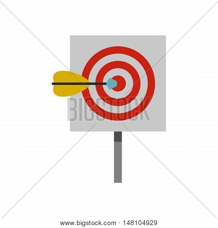 Red target and dart icon in flat style on a white background vector illustration