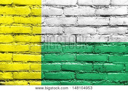 Flag Of Zielona Gora, Poland, Painted On Brick Wall