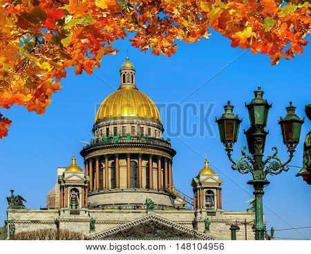 Saint Isaacs Cathedral in St Petersburg Russia framed by orange maple leaves. Architecture landscape of St Petersburg, Russia in nice sunny weather. Closeup view of St Petersburg landmark.