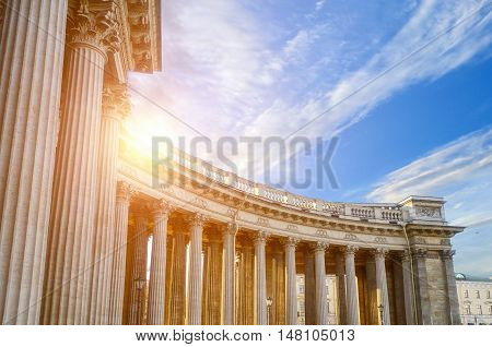 Colonnade of the Kazan Cathedral in St Petersburg Russia. Architecture landscape of famous landmark St Petersburg with sunlight breaking through the balustrade. Soft filter applied.Architecture landmark of St Petersburg, Russia. Architecture view.