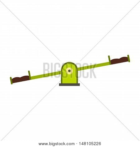 Green seesaw icon in flat style on a white background vector illustration