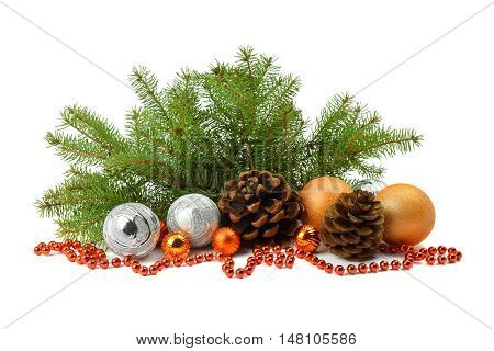 To create a festive mood: fir tree spheres beads bumps. Christmas arrangement isolated on white background.
