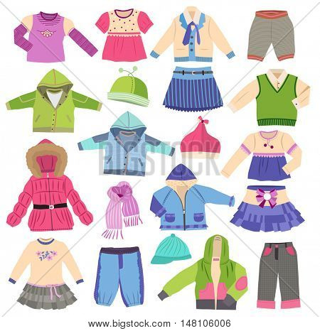 set of fashion children's clothes isolated on white background  (vector illustration)