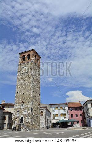 Buildings in the main square of the small historic north east Italian coastal town of Marano Lagunare in Friuli Venezia Giulia