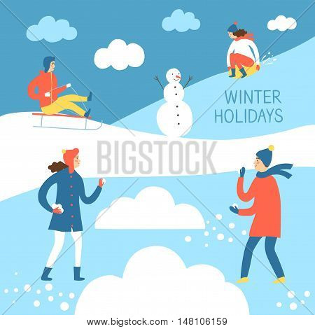 Winter activities cartoon illustration. Active children playing outdoor. Winter illustration for your design.