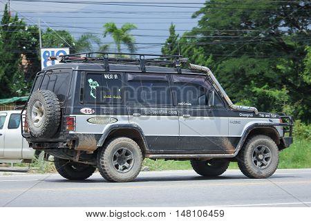 CHIANGMAI THAILAND -AUGUST 18 2016: Old Mitsubishi Pajero Suv Car. On road no.1001 8 km from Chiangmai city.