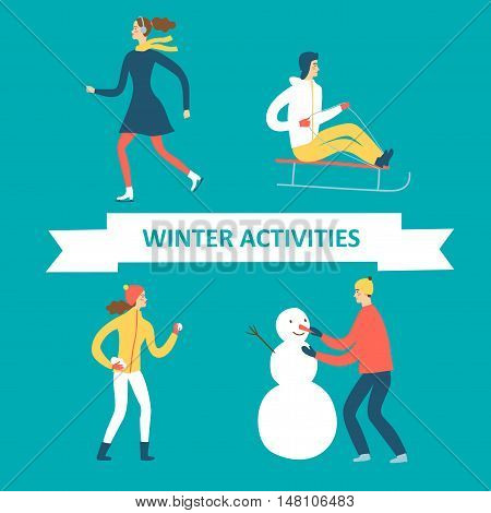 Winter activities cartoon set. Active people illustration for your design.