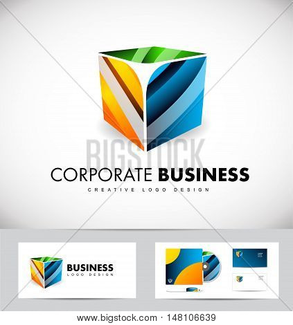 Corporate business 3d cube vector logo icon design template