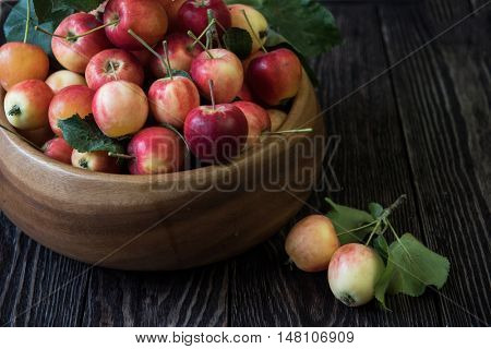 Fresh harvest of apples an a wooden background, nature fruit concept