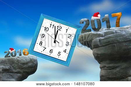 Final countdown to New Year 2017 in last minutes of 2016 year.