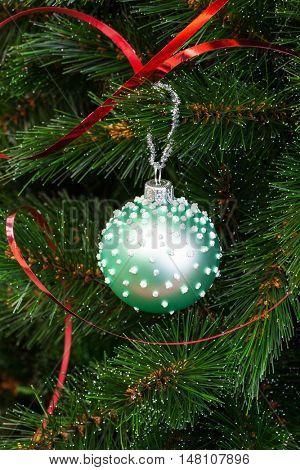 beautiful green ball on the Christmas tree