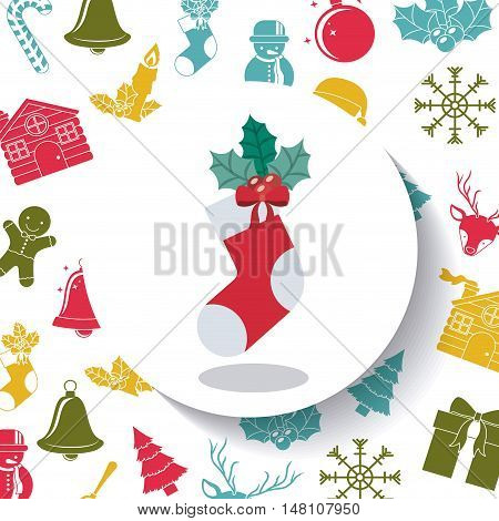 Sock inside circle icon. Merry Christmas season and decoration theme. Colorful design. Vector illustration