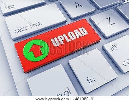 Red upload key with green icon 3d computer keyboard , 3d illustration