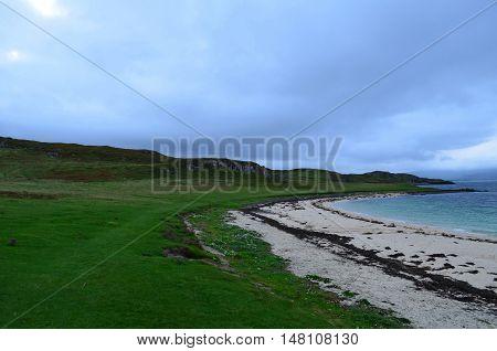 White Claigan coral beach along the shores of Skye.