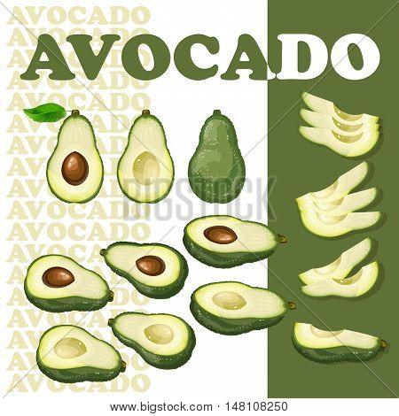 Vector illustration with avocado and slices isolated on white background.  Flat style healthy food.  Set with slices of avocado.