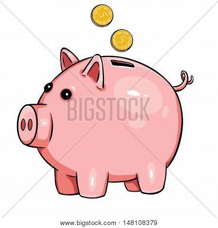 Vector Cartoon Piggy Bank