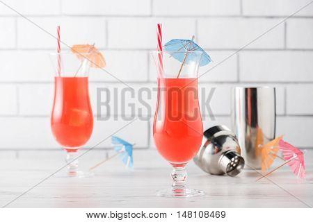 Fresh Home Made Singapore Sling Cocktails