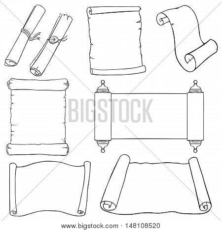 Vectror Set Of  Line Art Scrolls