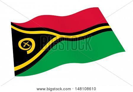 Vanuatu flag isolated on white background. 3D illustration.