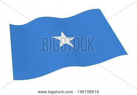 Somalia flag isolated on white background. 3D illustration.