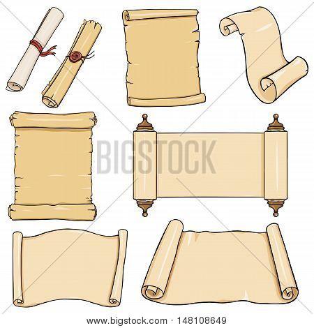 Vectror Set Of  Cartoon Scrolls