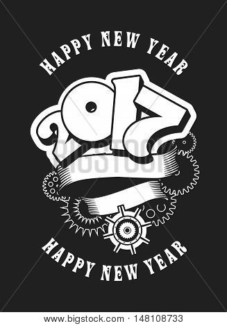 vector illustration Christmas card with the number of years entwined banner and rotating mechanical parts black and white