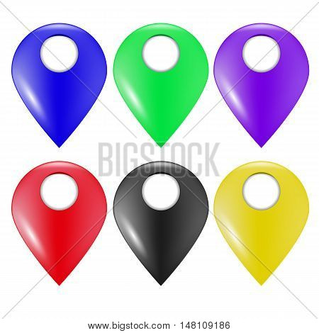 Set of Colorful Marker Icons Isolated on White Background