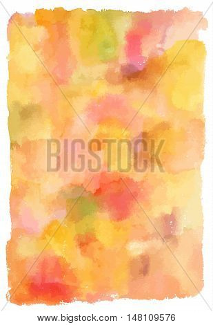 An abstract artistic pastel yellow and orange watercolor background texture. Scalable vector graphic