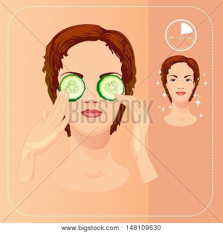 Young woman cares and protects her face with cucumber slices, facial, treatment. Beauty facial procedures. Face, eye care.