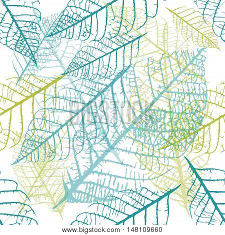 A seamless vector background pattern of teal blue and green skeleton leaves on white background, autumnal repeat print