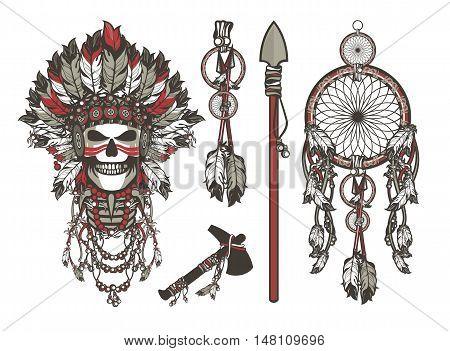 vector illustration design set iniyskaya theme dead leader in boho style