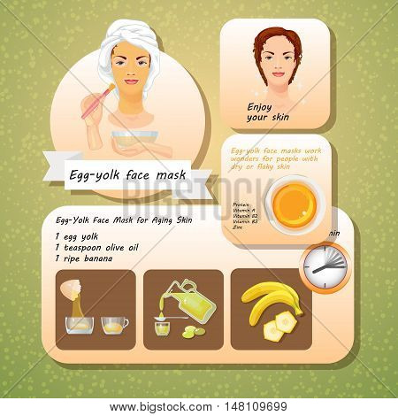 Vector illustration of Egg Yolk Face Mask Recipes. Cosmetic mask for face skin. Spa Facial Mask. Set of natural ingredients for facials.