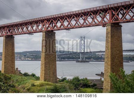 Forth Rail and Road Bridges in Edinburgh, Scotland, connecting the towns of North and South Queensferry