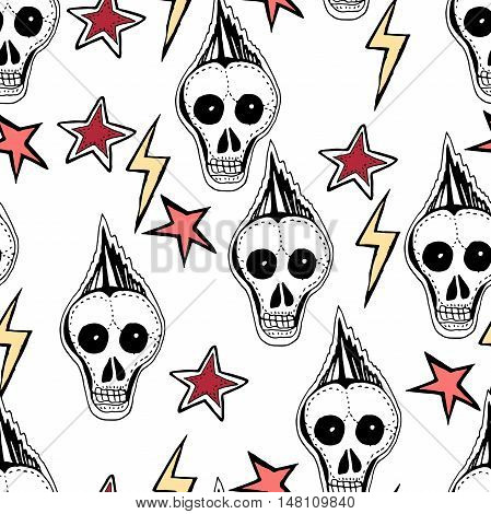 Seamless background. Hand drawn vector sketches. Skulls, stars,arrows, punks, rock symbols.