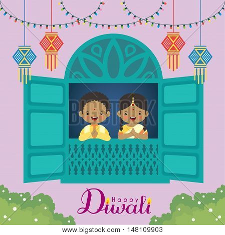 Diwali / Deepavali vector illustration. Cute indian boy and girl with window frame, india lanterns and colorful light bulbs. Festival of Lights celebration.
