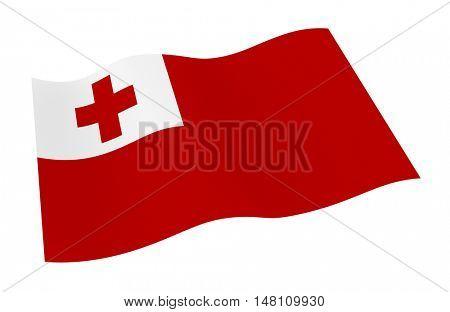 Tonga flag isolated on white background. 3D illustration.