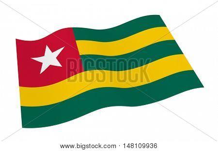 Togo flag isolated on white background. 3D illustration.
