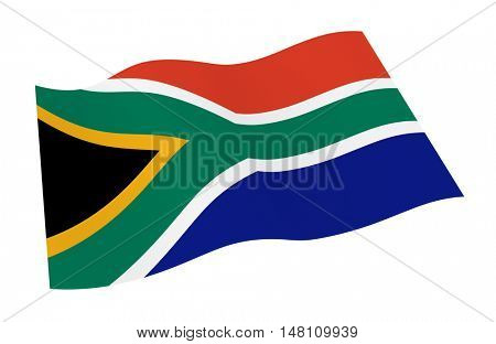 South Africa flag isolated on white background. 3D illustration.