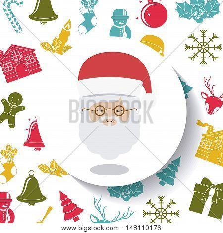 Santa inside circle icon. Merry Christmas season and decoration theme. Colorful design. Vector illustration