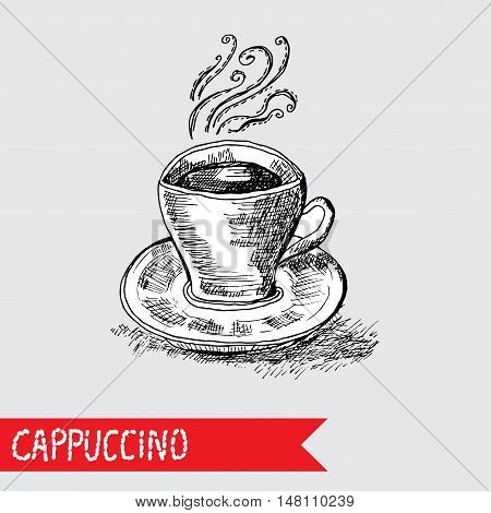 Hand Drawn Cappuccino Cup