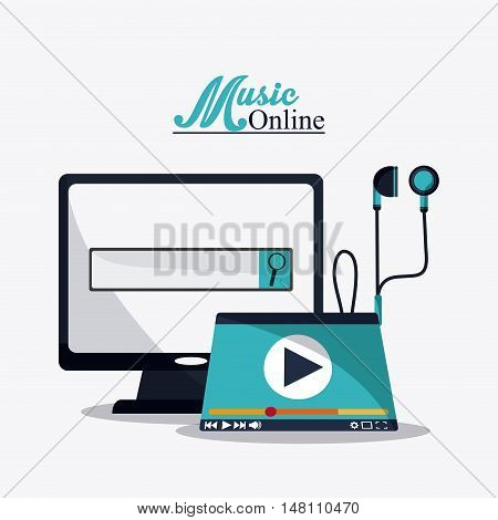 Computer and headphone icon. Music online and media  theme. Colorful design. Vector illustration