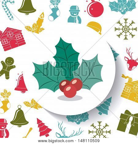 Berry and leaves inside circle icon. Merry Christmas season and decoration theme. Colorful design. Vector illustration