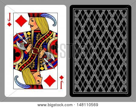 Jack of Diamonds playing card and the backside background. Colorful original design. Vector illustration