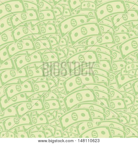 Set of Paper Dollars Pattern. American Banknotes. Cash Money. US Currency