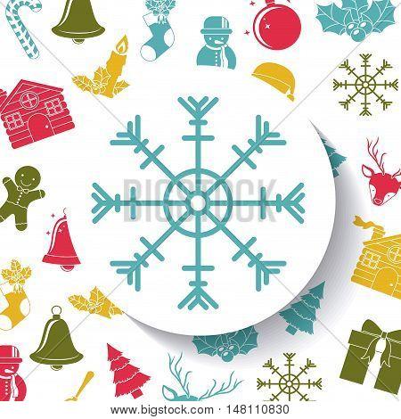 Snowflake inside circle icon. Merry Christmas season and decoration theme. Colorful design. Vector illustration