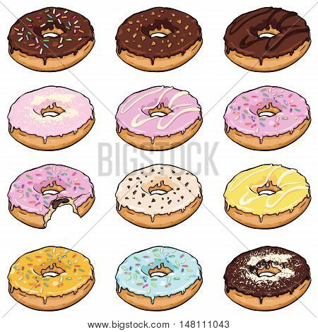 Vector Set Of Cartoon Color Doughnuts
