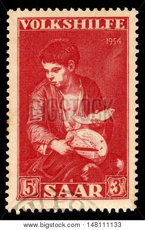 Germany, Saarland - CIRCA 1954: a stamp printed in the Saar, Germany shows painting fragment Bartolome Esteban Murillo: