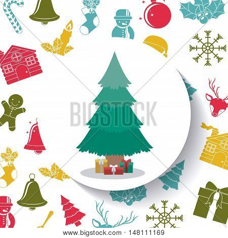 Pine tree inside circle icon. Merry Christmas season and decoration theme. Colorful design. Vector illustration