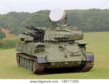 A Radar Controlled Anti Aircraft Mobile Gun System.